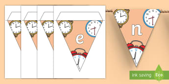 Attendance Display Bunting - On Time, Classroom, rules, Responsibilities, Punctual, Punctuality, Prompt, Schedule