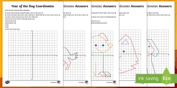 UKS2 Year of the Dog Coordinates Activity Sheets - Y5, Y6, Chinese, New Year, Four Quadrants, Position, Plotting, worksheets