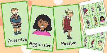 Assertive Passive Aggressive Picture Cards - passive, aggressive