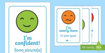Emotion Communication Display Posters English/Italian - Emotion Communication Display Posters, Communication, emotions, communication cards, traffic lights,