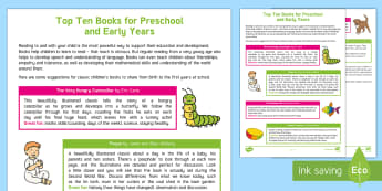 An Early Years and Preschool Book List Parent and Carer Information Sheet - eyfs, reception, birth to five, toddler, reading, literacy, language