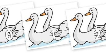 Numbers 0-31 on Swans - 0-31, foundation stage numeracy, Number recognition, Number flashcards, counting, number frieze, Display numbers, number posters