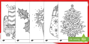 Christmas-Themed Mindfulness Colouring Pages English/French - colouring, pd, fine motor skills, well being, stress, relax, unwind, early years, ks1, ks2, art, hom