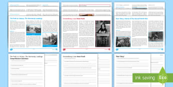 World War Two Comprehensions Resource Pack - diaries, anne frank, normandy landings, remembrance, november 11th.