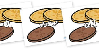 100 High Frequency Words on Chocolate Coins - High frequency words, hfw, DfES Letters and Sounds, Letters and Sounds, display words