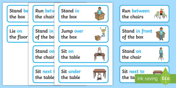 Preposition Picture Instructions - SEN, visual aid, position, prepositions