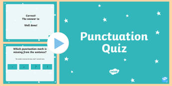 Punctuation Quiz PowerPoint - Grammar, English, Language, Period, Exclamation Point, Question Mark, Comma