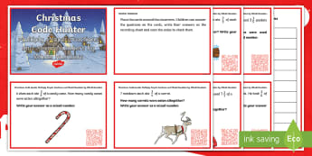 Y5 Multiplying Fractions Christmas QR Challenge Cards - Proper, mixed, improper, Hunt, word problems, ks2, reasoning, mastery, application