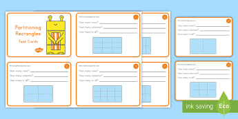 Partitioning Rectangles Cards - Geometry, Arrays, rows, columns, shapes