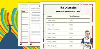 The Olympics - Ordering Finishing Times Activity Sheet-Scottish, worksheet