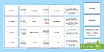 Sports Card Game French - Speaking, Reading, comprehension, hobbies, leisure,French