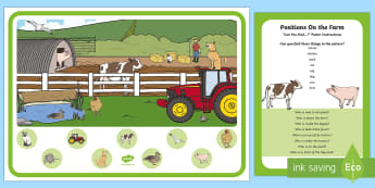 Positions on the Farm Can You Find...? Poster and Prompt Card Pack - i spy, can you find, positonal language, in, on, under, on top, next to, opposite,