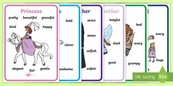 Fairy Tale Character Traits Posters - Characters, story, stories, attributes, features, personality, writing aid, display poster, giant, witch, prince, princess, stepmother