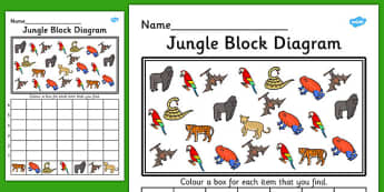 Jungle Block Diagram Activity Worksheet - graph, activity, jungle
