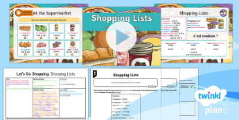 French: Let's Go Shopping: Shopping Lists Year 6 Lesson Pack 5