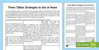 Useful Strategies for Learning Multiplication Tables Parent and Carer Information Sheet - parents, advice, schools, secondary, parents evening