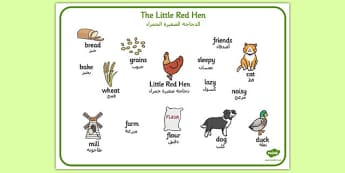 The Little Red Hen Word Mat Arabic Translation - arabic, little red hen, word mat, word, mat, story book