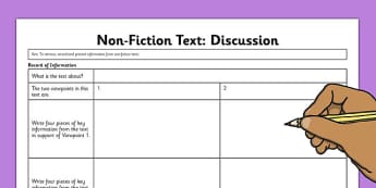 Discussion Text Record of Information Worksheet - discussion