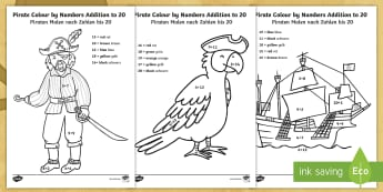 Pirate Addition to 20 Colour by Number English/German - Pirates, colouring, maths, EAL, German, English-German,,German-translation