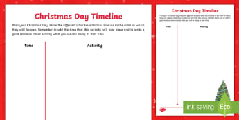 Christmas Day Timeline Activity - Christmas, timelines, order, time, creative writing, christmas activities