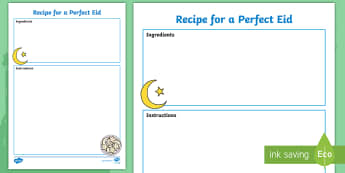 Recipe for a Perfect Eid Writing Frames  - Recipe for a Perfect Eid Sheet - recipe, eid, sheet, receipe, Eide, writting