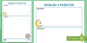 Recipe for a Perfect Eid Writing Frames  - Recipe for a Perfect Eid Sheet - recipe, eid, sheet, receipe, Eide, writting