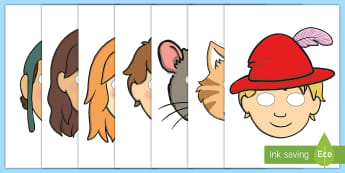 The Pied Piper Story Role Play Masks - Pied Piper, story, children, rats, Hamelin, pipes, cats, role play mask, role play, masks, cave, villagers, mountain, town, money, story book