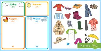 Seasonal Clothes Sorting Activity English/Mandarin Chinese - Seasonal Clothes Sorting Activity - seasonal clothes, sorting, activity, sort, season, clothes, sort