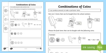 Combine Amounts to Make a Particular Value Activity Sheet - Year 2, money, financial mathematics, coins, value,