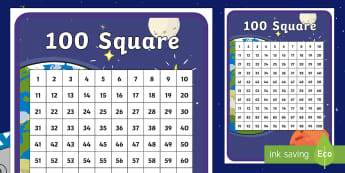 Back to Earth with a Bump 100 Number Square - twinkl originals, fiction, space, moon, solar system, counting, 0-100