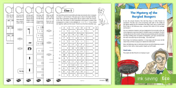 UKS2 The Summer Mystery of the Burgled Bangers Maths Game - KS2, Maths, year 6, year 5, y6, y5, SATs practice, roman numerals, column, column subtractions, subt