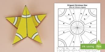 Simple Origami Christmas Star Paper Craft Romanian/English - 3D paper craft, paper craft, Christmas, Christmas tree, Christmas decoations, EAL