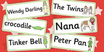 Peter Pan Word Cards - Peter, Pan, Word, Cards, Story, Tinkerbelle