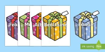 Postaer Taispeána A4: Míonna na Blianna ar Bronntanais lá Breithe  - Míonna na blianna ar bronntanais lá breithe, months of the year on birthday presents, ,Irish