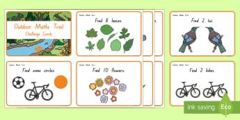 Outdoor Maths Trail Challenge Cards - outdoors, maths, New Zealand, activities, cards, numbers, treasure hunt, Years 1-3