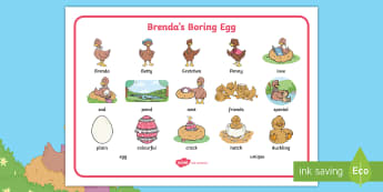 Brenda's Boring Egg Word Mat - twinkl originals, fiction, KS1, EYFS,story, vocabulary, independent writing, egg, egg, duck, ducks,