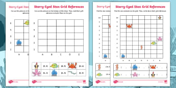 Starry-Eyed Stan Grid References Worksheet / Activity Sheets - Twinkl Originals, Fiction, KS1, Maths, co-ordinates, under the sea, sea creatures, sea-life, maths,