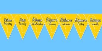 Days of the Week Bunting Te Reo Māori - Māori, days of the week, nz, new zealand, time, day, weeks, language