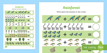 Rainforest Themed Up to 20 Addition Sheet - rainforest, up to 20, addition, add, 20, maths, mathematics, numeracy