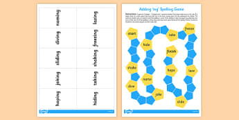 Adding -ing Continuous Actions Board Game - ESL Present Continuous Resources