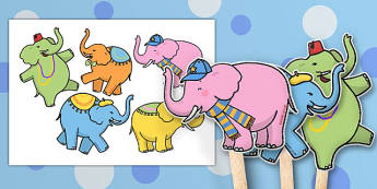 One Elephant Went Out to Play Stick Puppets - One Elephant Went Out to Play, stick puppets, nursery rhyme, rhyme, rhyming, nursery rhyme story, nursery rhymes, counting rhymes, addition, counting, one more than,