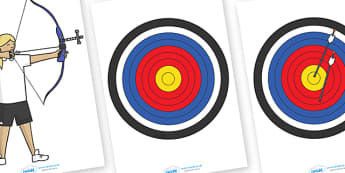 The Olympics Editable Archery Images -  Archery, Olympics, Olympic Games, sports, Olympic, London, images, editable, event, picture, 2012, activity, Olympic torch, medal, Olympic Rings, mascots, flame, compete, events, tennis, athlete, swimming