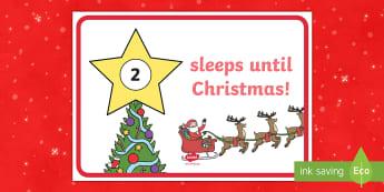 Sleeps until Christmas Countdown Display Sign - christmas countdown, event, how many sleeps, xmas, calendar