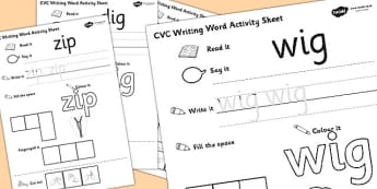 CVC Writing Word Worksheet / Activity Sheet Pack 'i' with British Sign Language, worksheet
