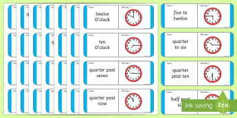 O'Clock, Half Past, Quarter Past and Quarter to Loop Cards With Five Minutes - loop cards, five minutes, time