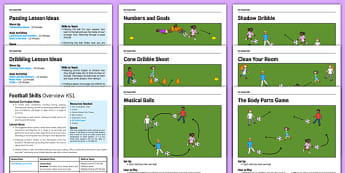 KS1 Football Skills Pack - football, PE, sport, exercise, KS1, year 1, year 2, skills, physical education, ball skills, team sports