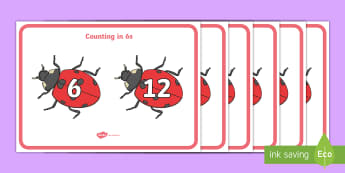 Counting In 6s (on Ladybirds) Display Posters - Counting in 5s (on Hands) - Counting, Numberline, Number line, Counting on, Counting back, even numb