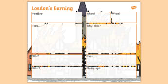 The Great Fire of London Newspaper Writing Planning Template - writing, plan