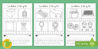 Ficha de recortar y pegar: La letra J, Ge y Gi - lecto, sonidos, lecto-escritura, fonemas, sonidos, consonantes, lengua P5, lengua 5AI, Lengua primer