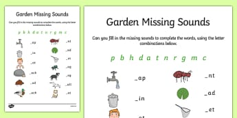 Garden Missing Initial Sounds Worksheet / Activity Sheet - phonics, letters, sounds, flowers, plants, phonemes, letters, sounds, writing, segmenting, spelling, phase 2, two, worksheet